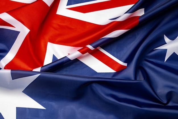 National flag of australia, fabric textile close up