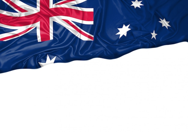 National flag of australia hoisted outdoors with white background. australia day celebration