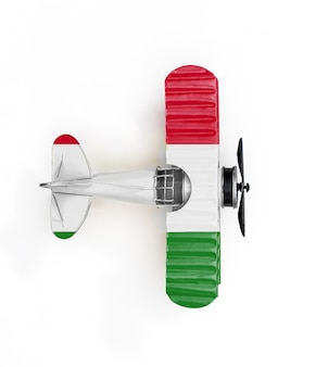 National flag of hungary travel metal toy plane isolated on white