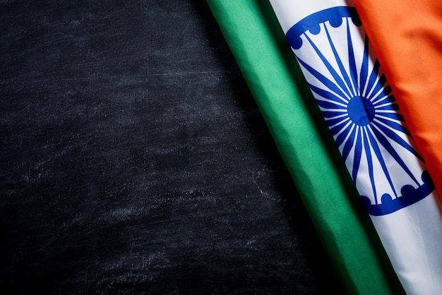 National flag of india on blackboard