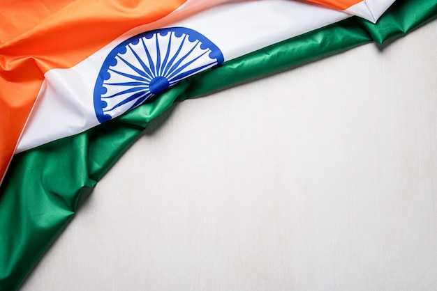 National flag of india on wooden background