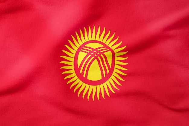 National flag of kyrgyzstan - rectangular shape patriotic symbol
