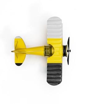 白で隔離されるペラ州の金属製のおもちゃの飛行機の国旗
