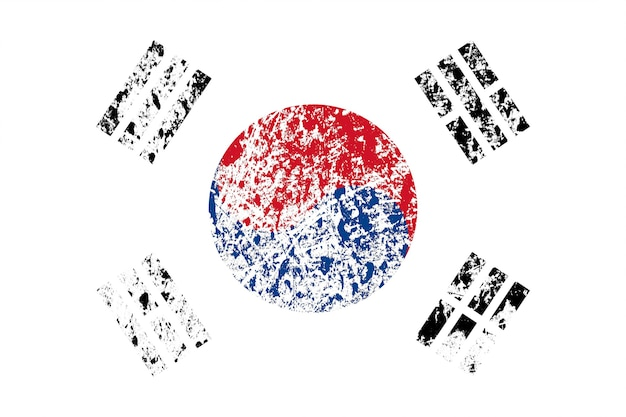テクスチャーのある韓国の国旗。デザインのテンプレート