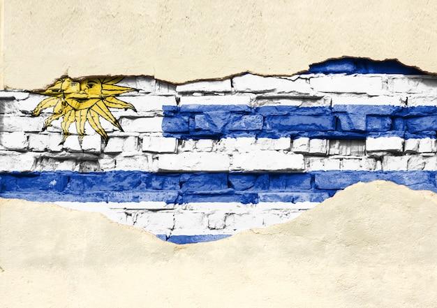 Национальный флаг уругвая на фоне кирпича. кирпичная стена с частично разрушенной штукатуркой, фоном или текстурой.