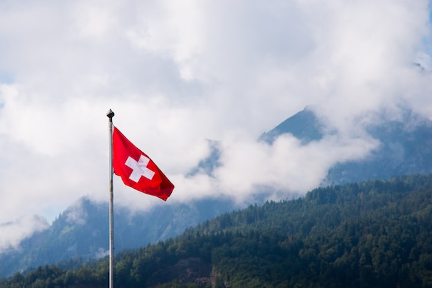 National flag of switzerland with mountains