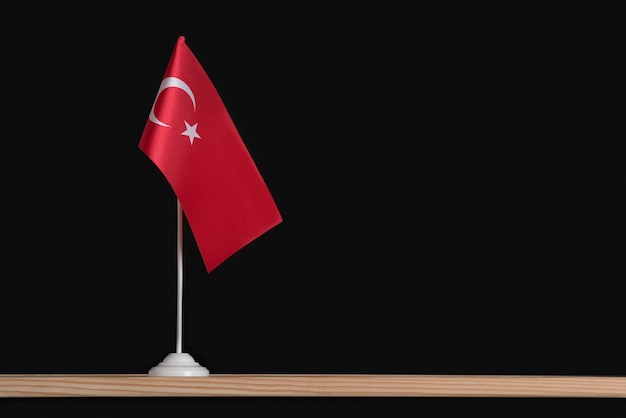National flag of turkey on a table