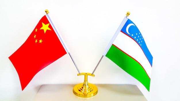 National flag of uzbekistan and peoples republic of china