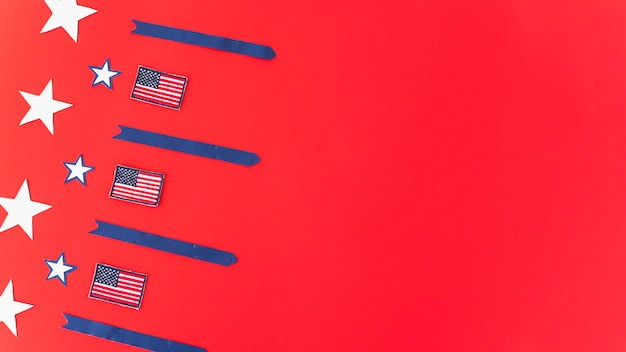 National flags stars and stripes on red surface