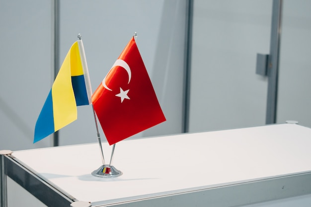 National flags of turkey and ukraine