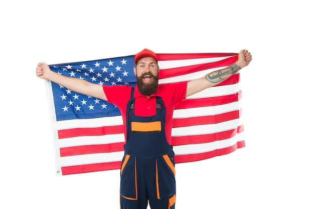 National holiday. worker celebrate independence day. work visa usa. man hold american flag. repair and renovation. guy worker uniform. builder regular worker. job relocation. country of opportunities.