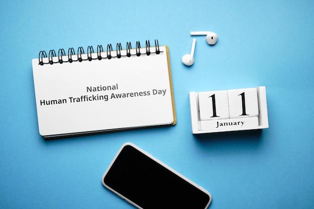National human trafficking awareness day in winter month calendar january.
