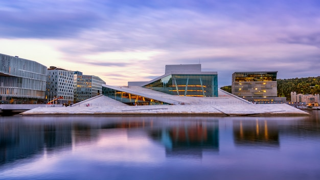 National oslo opera house with water reflection in oslo, norway