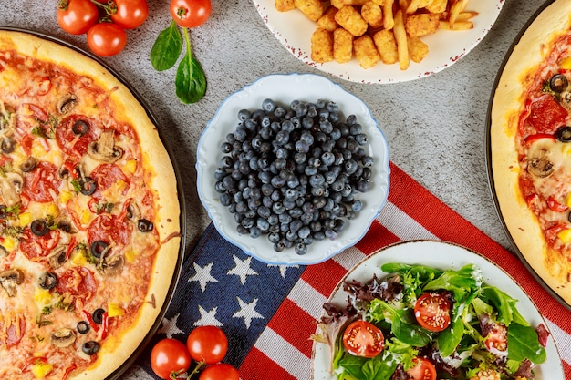 National party table with delicious food for american holiday.