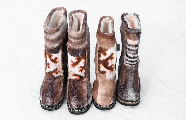 Национальная обувь ханты и манси. праздник дня северного оленя народов севера.