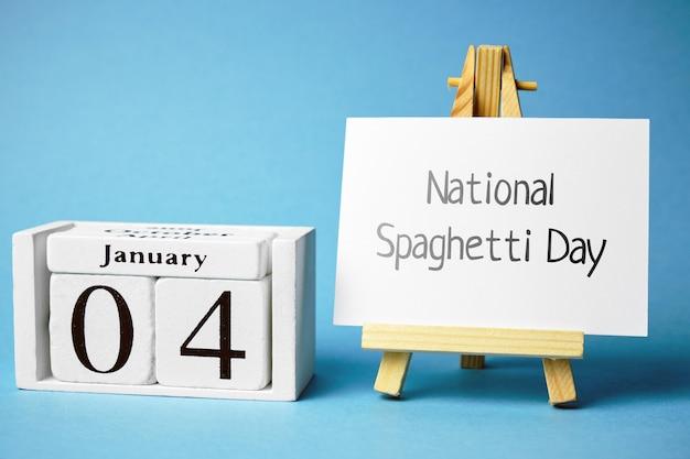 Национальный день спагетти в календаре зимнего месяца январь.
