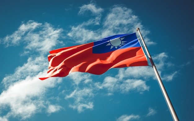 National state flag of taiwan fluttering