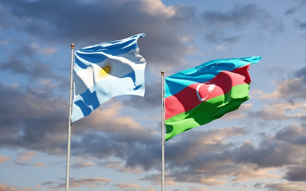 National state flags of azerbaijan and argentina