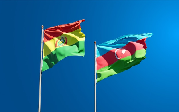 National state flags of azerbaijan and bolivia