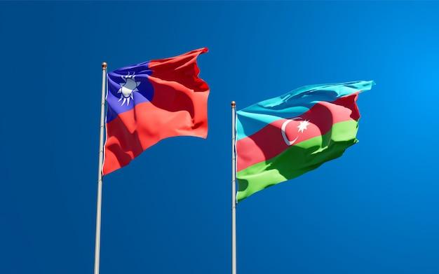 National state flags of azerbaijan and taiwan