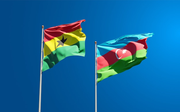 National state flags of ghana and azerbaijan