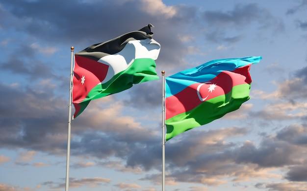 National state flags of jordan and azerbaijan
