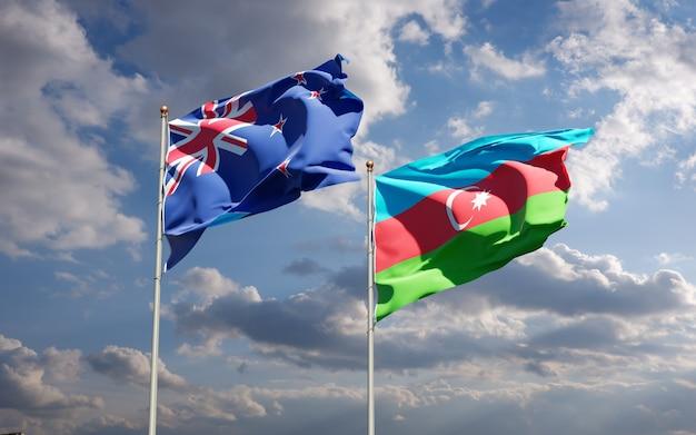 Национальные государственные флаги новой зеландии и азербайджана