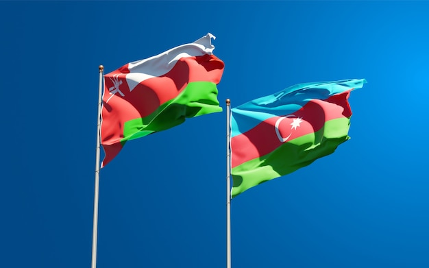 National state flags of oman and azerbaijan