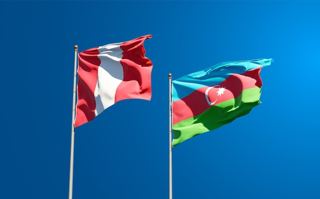 National state flags of peru and azerbaijan