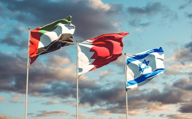 National state flags of uae bahrain israel
