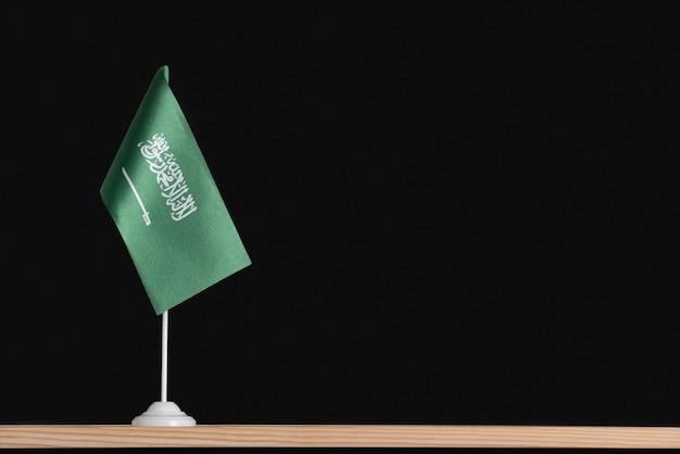 National table flag of saudi arabia on black