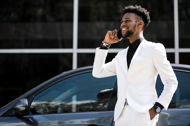 Nationality businessman suit mood walk negotiation