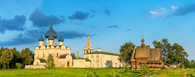 The nativity cathedral and st. nicholas church in suzdal, a unesco heritage site in russia
