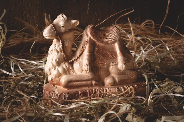 Nativity scene. isolated figures with rustic background.