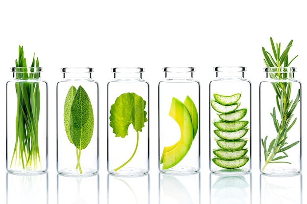 Natural alternative skin care ingredients  in glass bottles isolate on white background.
