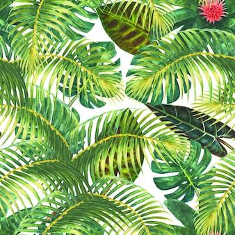 自然な背景。熱帯のエキゾチックな明るい緑の葉と白い背景の上のピンクの花。水彩手描きイラスト。ラッピング、壁紙、テキスタイル、ファブリックのシームレスなパターン。