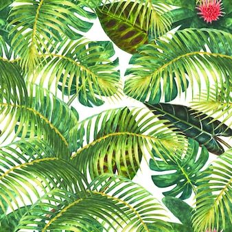 Natural background. tropical exotic bright green leaves and pink flowers on white background. watercolor hand drawn illustration. seamless pattern for wrapping, wallpaper, textile, fabric.
