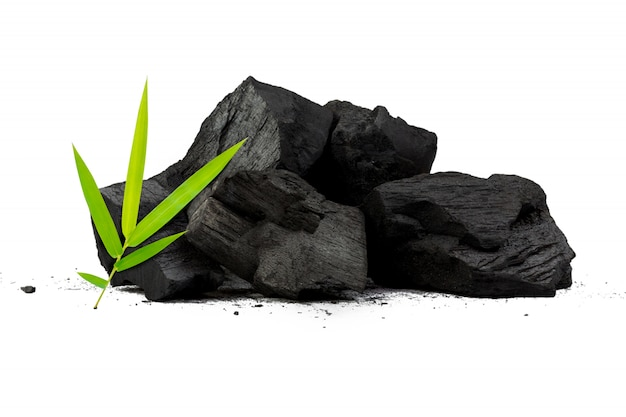 Natural bamboo charcoal isolated on white