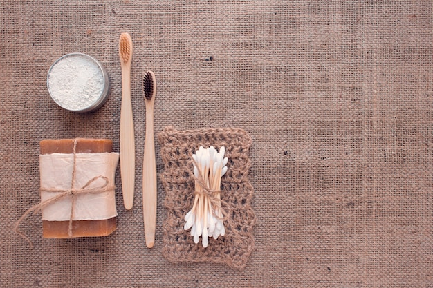Natural bathroom essentials on burlap