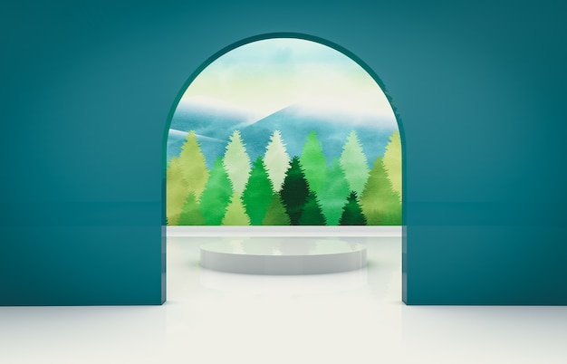 Natural beauty background for product display. 3d natural scene with landscape.