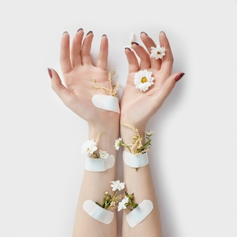 Natural beauty hand cosmetics with flower extract