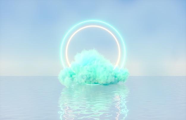 Естественный фон подиума красоты для демонстрации продукта с мечтательным облаком и фоном неонового света.