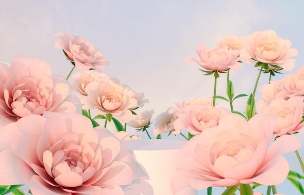 Фон подиума естественной красоты для демонстрации продукции с розовым цветком