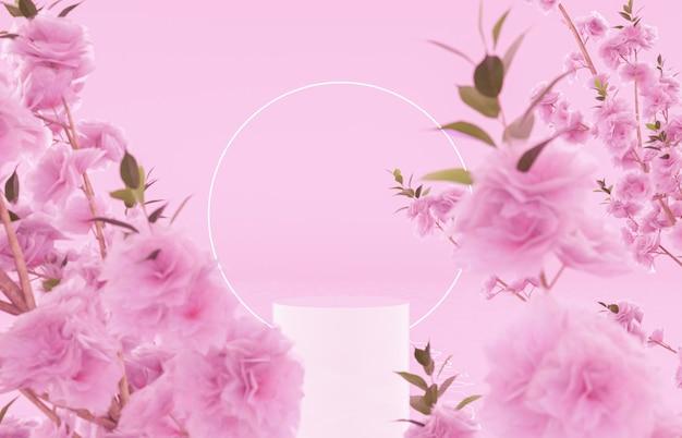 春の花と製品展示のための自然の美しさの表彰台の背景