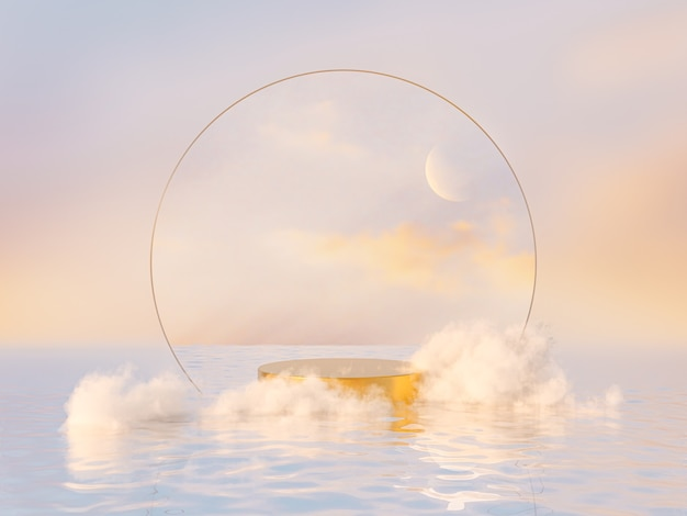 Natural beauty podium backdrop for product display with dreamy cloud and arch frame