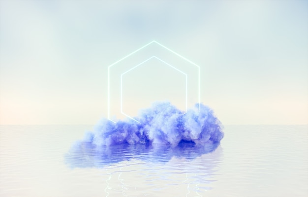 Natural beauty podium backdrop for product display with dreamy cloud and neon light background.