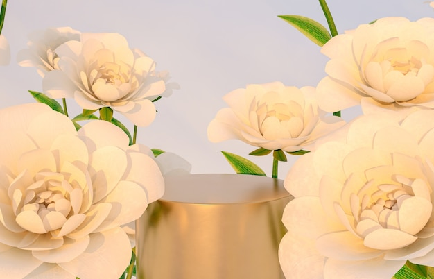 Natural beauty podium backdrop for product display with rose flower 3d rendering