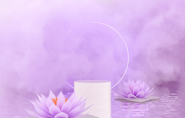 Natural beauty podium backdrop for product display with spring flower