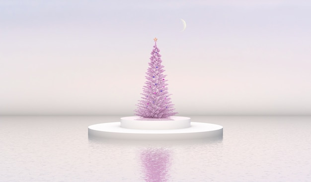 Natural beauty podium backdrop with cylinder box and christmas tree.