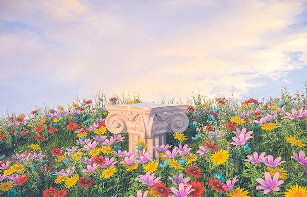 Natural beauty podium backdrop with spring flower field scene